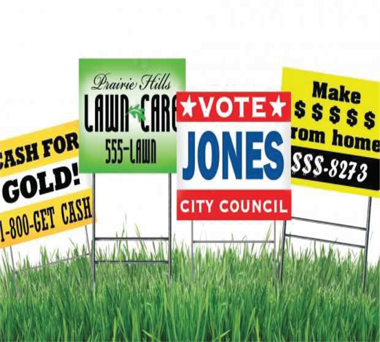 Generic Temporary Signs in lawn